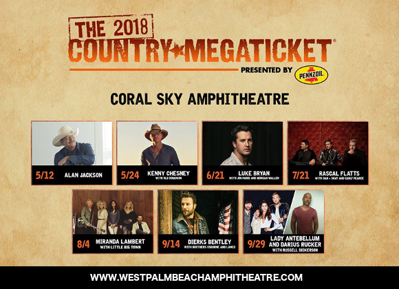 2018 Country Megaticket Tickets (Includes All Performances) at Verizon Wireless Amphitheatre at Encore Park